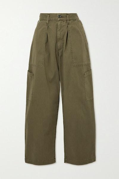 Mari Cotton-Twill Tapered Pants