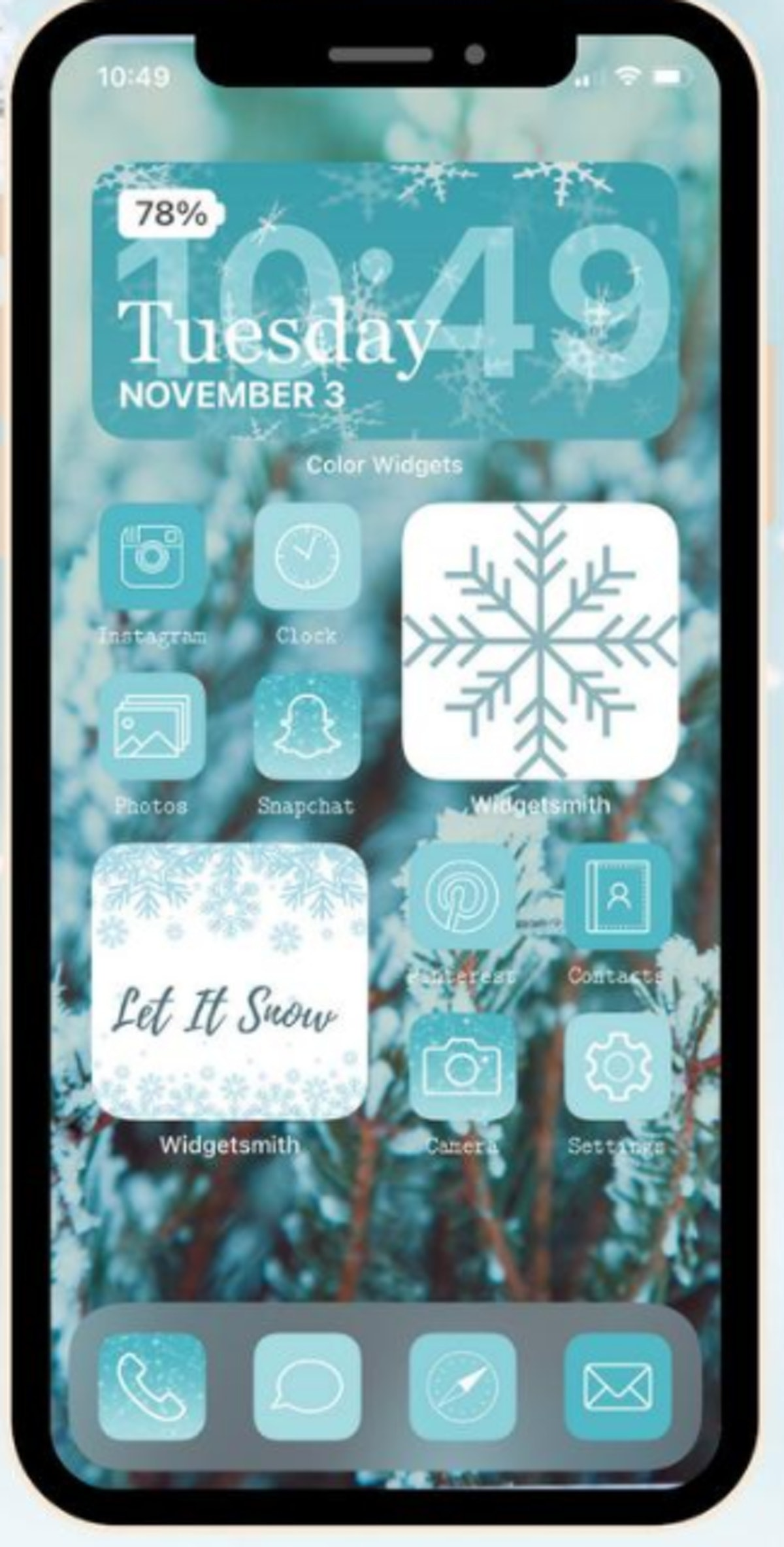 Winter Wonderland iOS 14 Home Screen Design