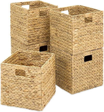 Best Choice Products Collapsible Hyacinth Storage Baskets (5-Pack)