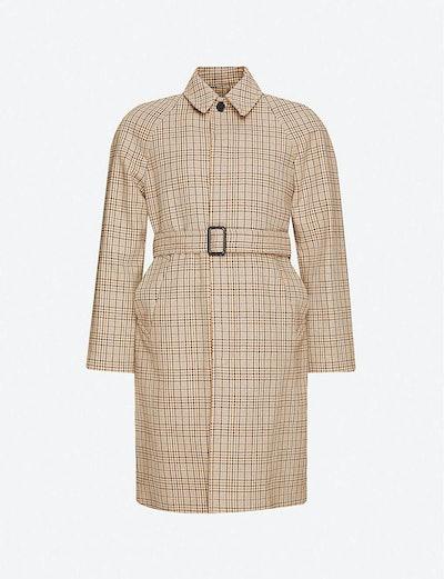 Carnaby tartan-pattern woven trench coat