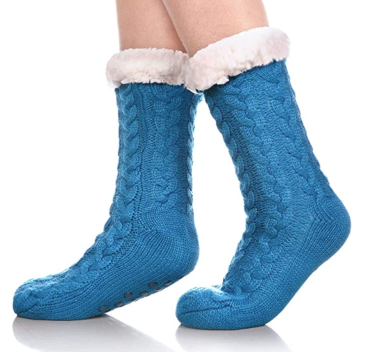 SDBING Fuzzy Fleece-Lined Socks with Grippers