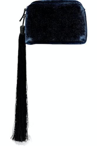 Wristlet Mini Tasseled Velvet Clutch