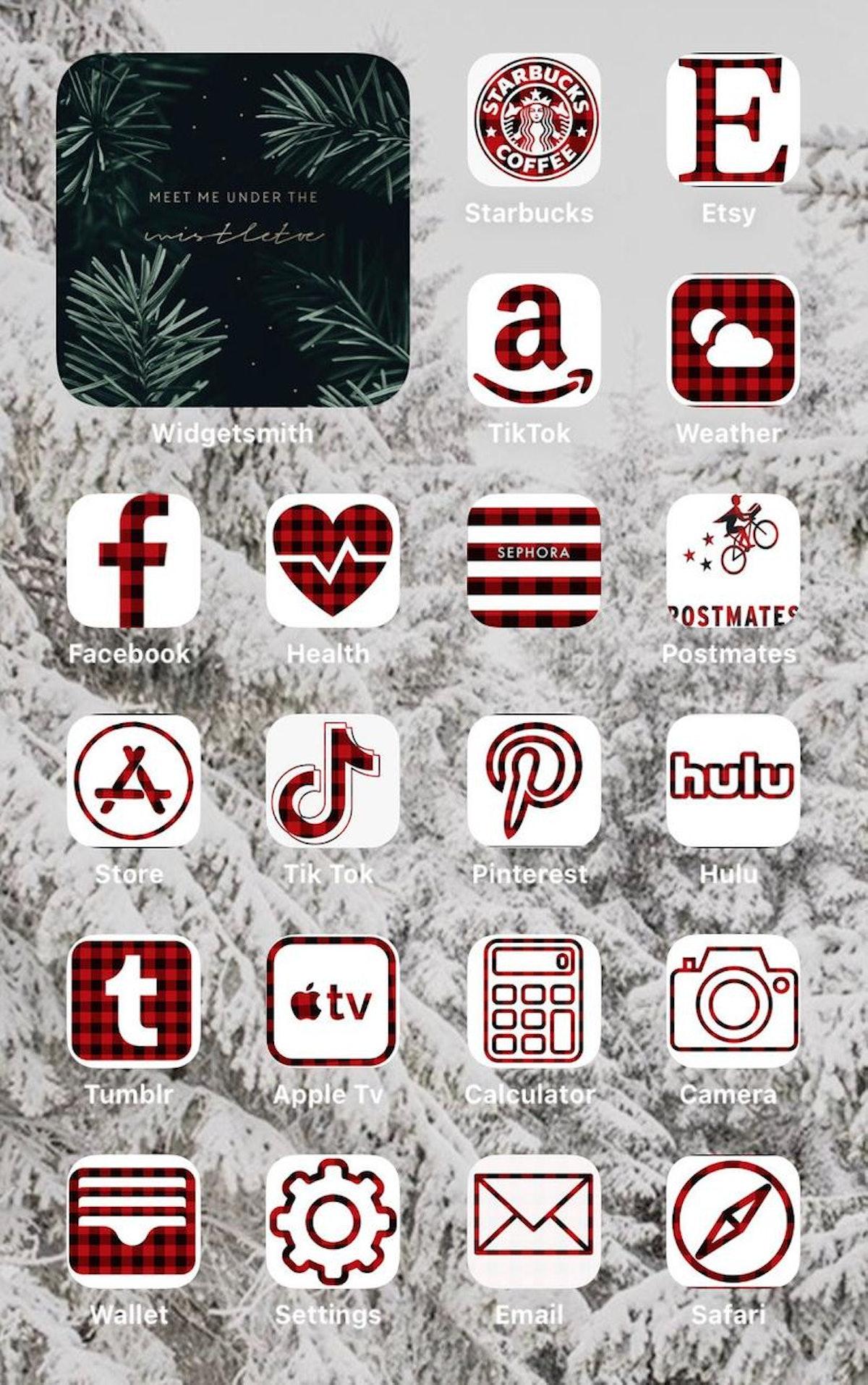 Plaid Winter iOS 14 Home Screen Idea