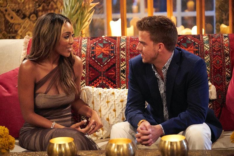 Bachelorette Tayshia talks to contestant Noah Erb