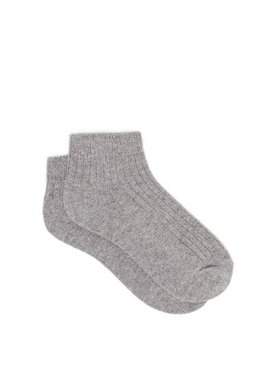 Skin Ribbed Cashmere-Blend Ankle Socks