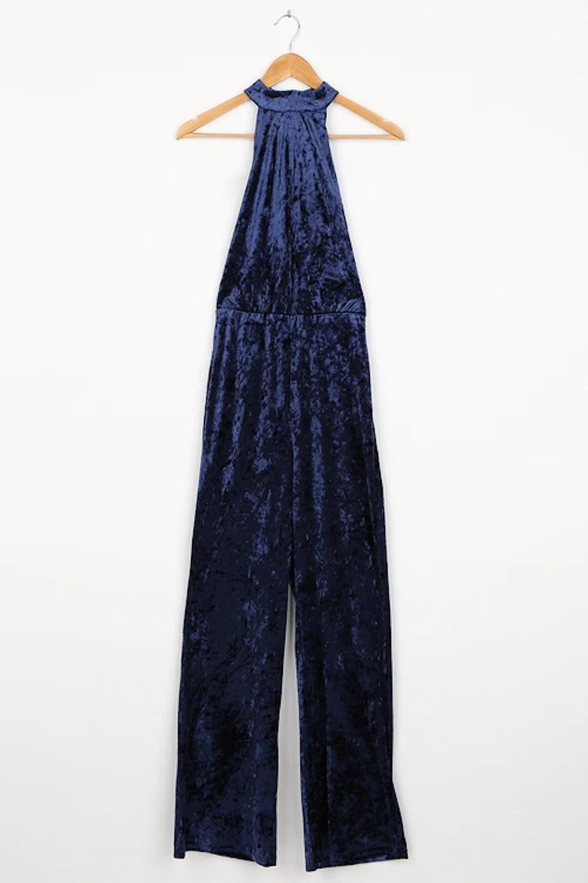Moment for Life Navy Blue Crushed Velvet Halter Jumpsuit