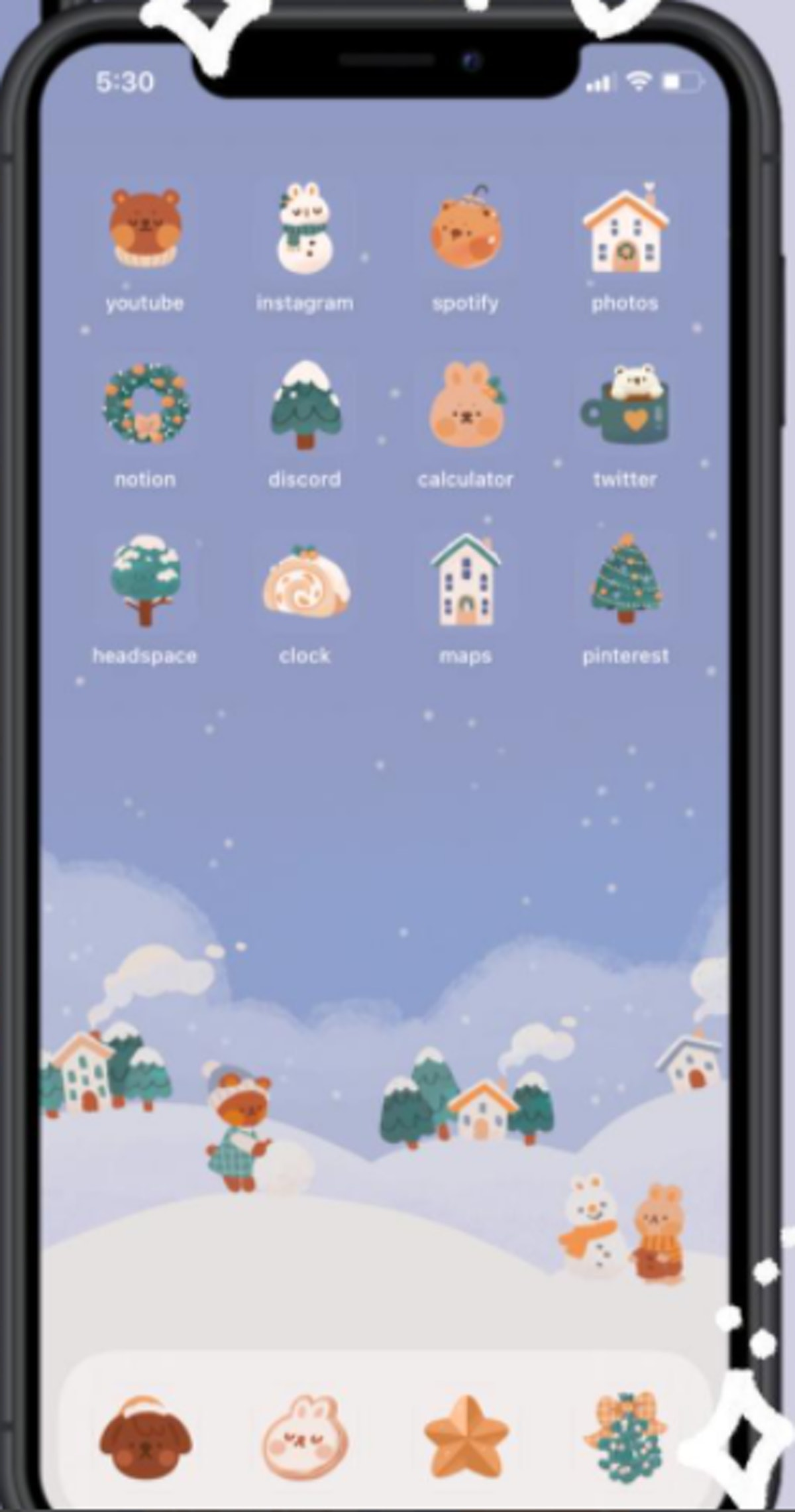 Cute Aesthetic Winter Forest iOS 14 Home Screen Design