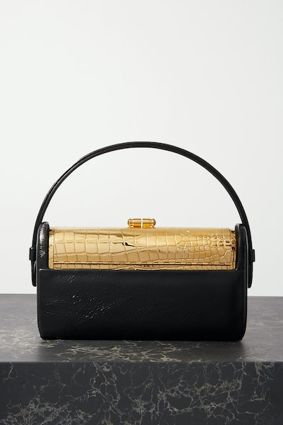 Régine Textured Patent-Leather and Gold-Dipped Tote