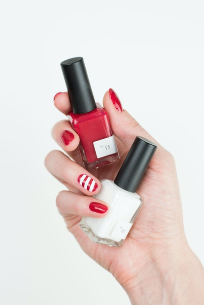 Amy Lin's candy cane manicure is easy to achieve.