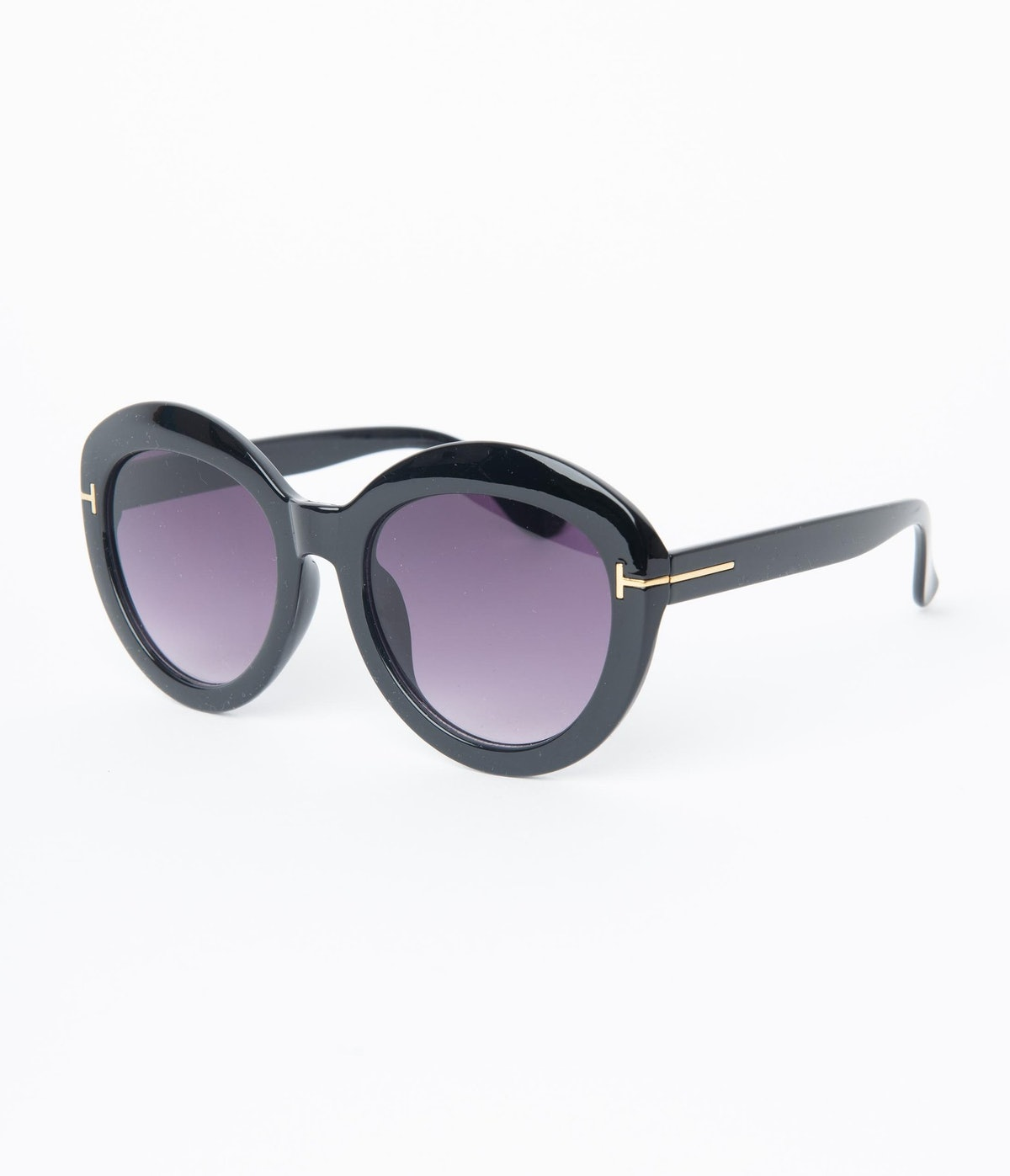 Black Retro Rounded Sunglasses