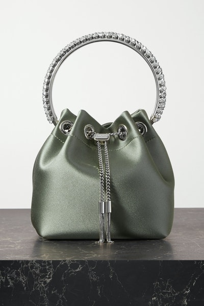 Bon Bon Crystal-Embellished Satin Bucket Bag