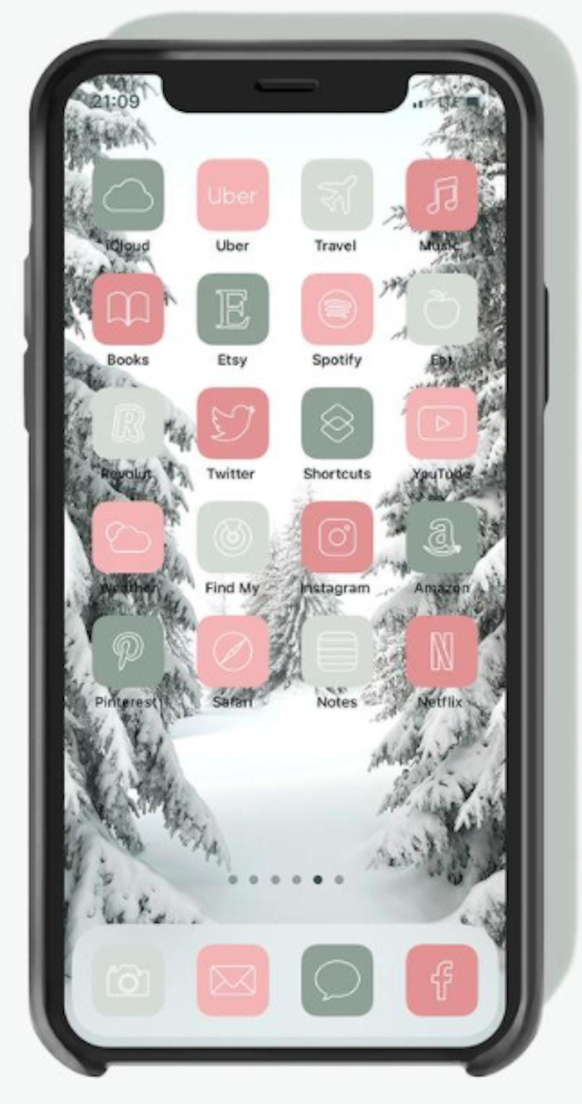 Pastel Aesthetic Winter iOS 14 Home Screen Design