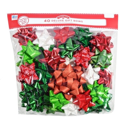 Holiday Time Deluxe Poly Gift Bows, Red/White/Green, 40 Count