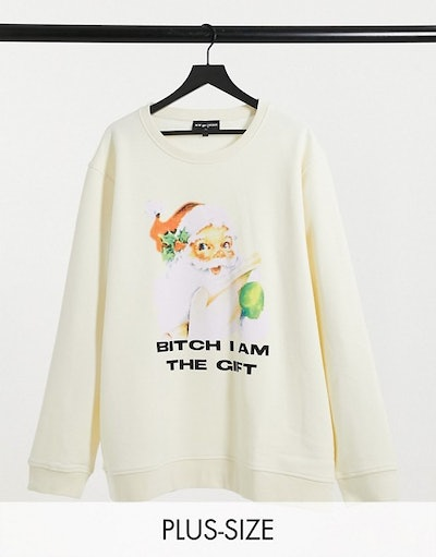 New Girl Order Curve oversized sweatshirt with i am the gift xmas graphic