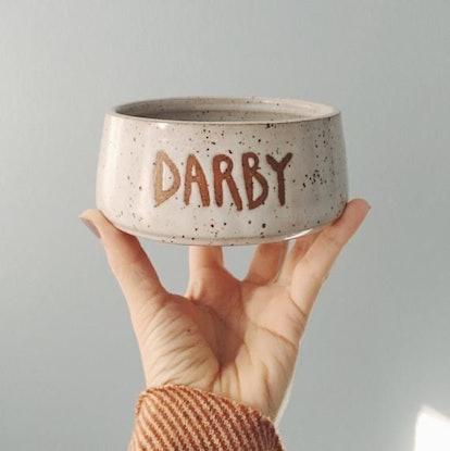 Customized Dog Bowl, white ceramic dog bowl,