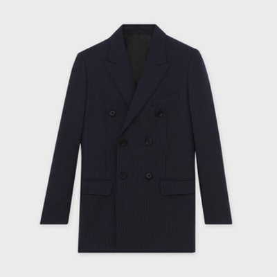 LONG JACKET IN WOOL WITH TENNIS STRIPES