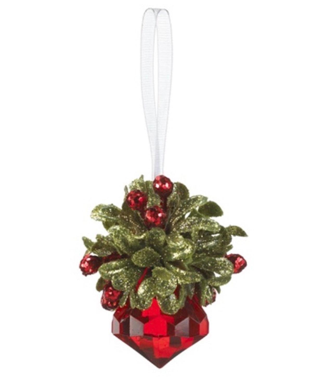 Teeny Mistletoe Red Colored Krystal Ornament - By Ganz