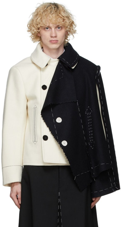 Off-White & Black Melton Cloth Jacket