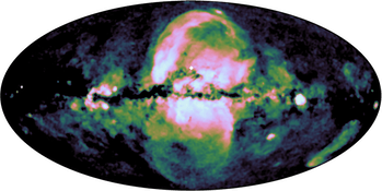 image showing the large bubbles in center of milky way