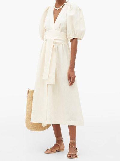 Fiona puff-sleeve tie-waist linen midi dress
