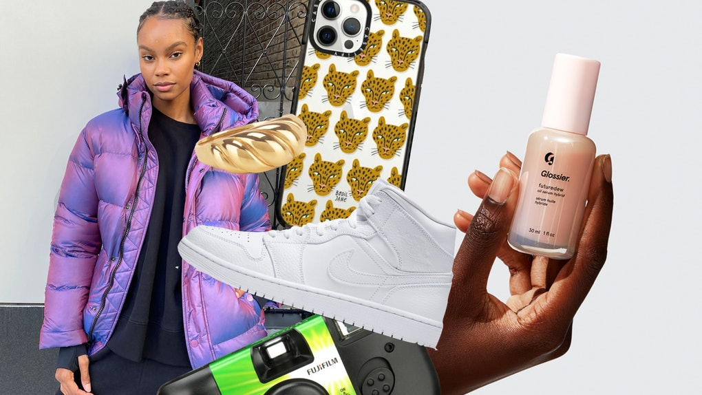 A cool gift guide for teens in 2020 includes a puffer jacket, Air Jordan 1s, a chunky gold ring, a phone case, disposable cameras, and Glossier's Futuredew.