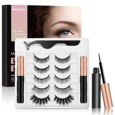 Ainviata Magnetic Eyelashes and Eyeliner (5 Pairs)