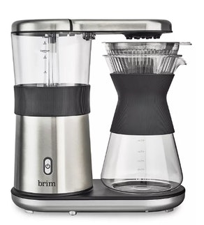 Brim 8 Cup Pour Over Coffee Maker Kit, Simply Make Rich, Full-Bodied Coffee Every Time, Set Includes Glass Carafe, SCA Measuring Scoop, Silicone Sleeve, and Healthy-Eco Reusable Filter, Stainless Steel