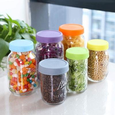 Aozita Plastic Mason Jar Tops (6-Pack)
