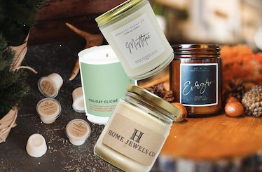 Candle shops on Etsy are filled with holiday scents like evergreen and mistletoe.