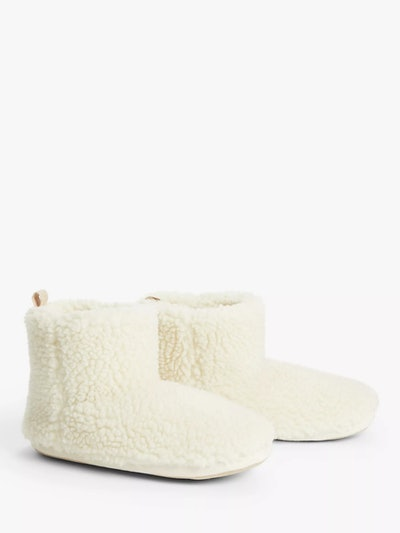 John Lewis & Partners Borg Sustainable Faux Fur Boot Slippers, Cream