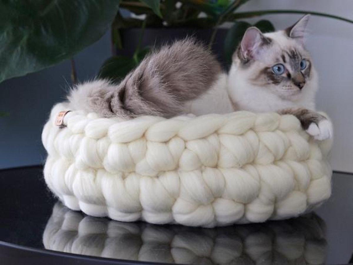 Crochet Merino Wool Cat Basket