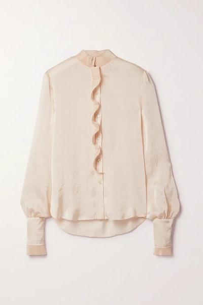 Plissé ruffled hammered-satin blouse