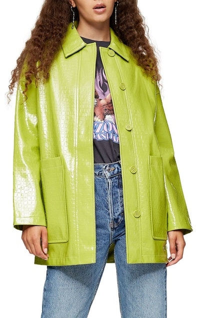 Alma Crocodile Faux Leather Shirt Jacket