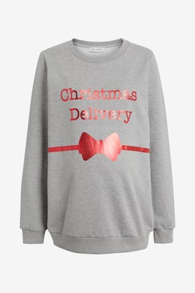 Grey Marl Maternity Christmas Delivery Sweater