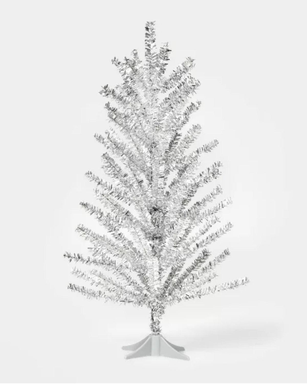 2ft Unlit Tinsel Christmas Tree Shiny Silver - Wondershop™