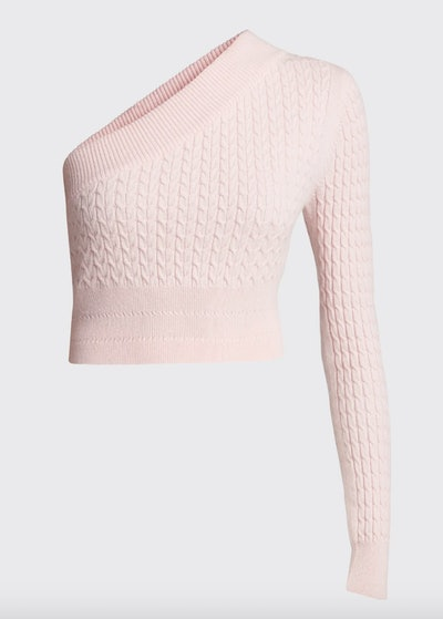 Welling Cashmere One-Shoulder Crop Sweater