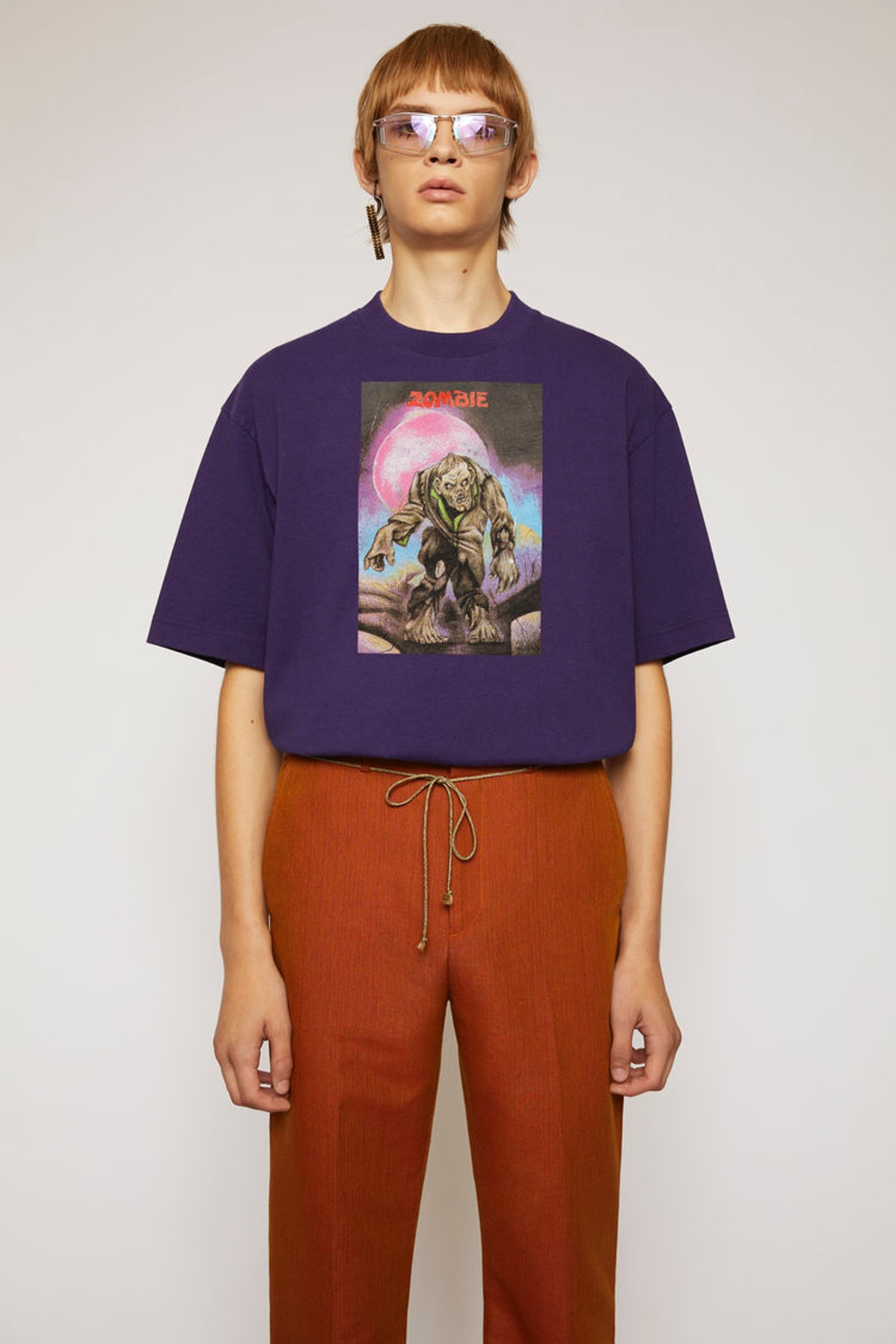 Monster-print t-shirt deep purple