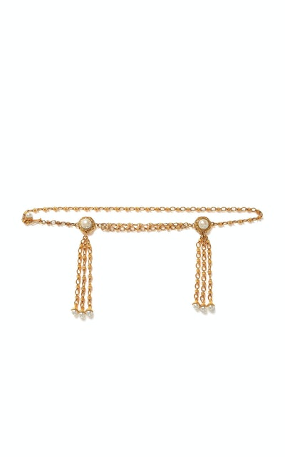 Double Pearl Tassel Embellished Belt