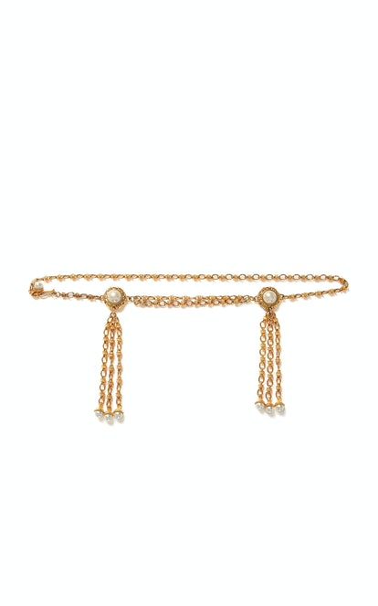 Double Pearl Tassel Embellished Belt