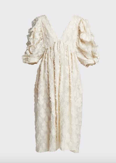 Ruffle-Embroidered 3/4-Sleeve Deep-V Dress