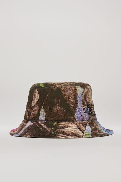 Monster-print bucket hat multi pink
