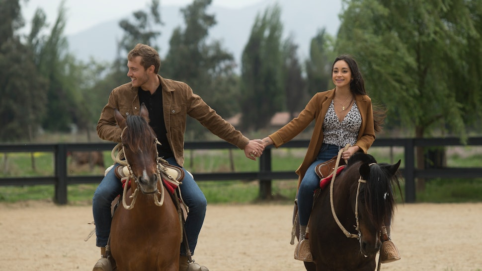 Peter and Victoria F. riding horses on The Bachelor