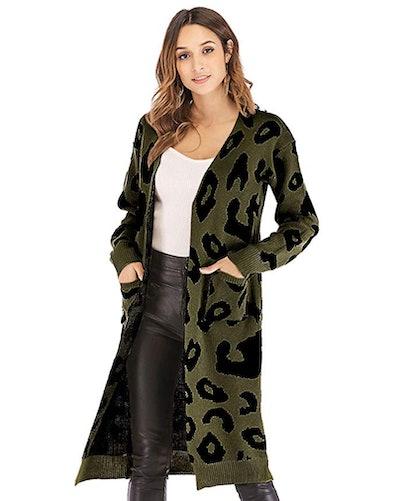BTFBM Long Leopard Cardigan