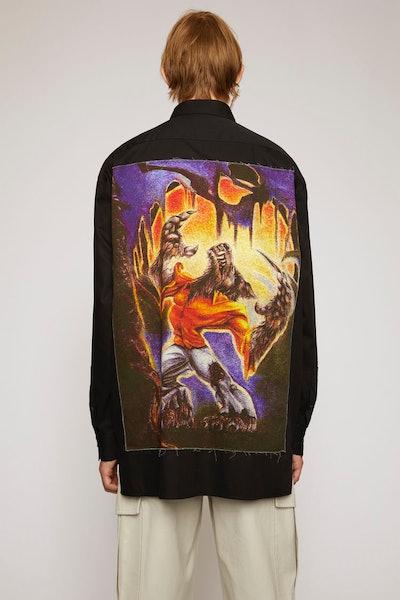 Monster-print cotton shirt black