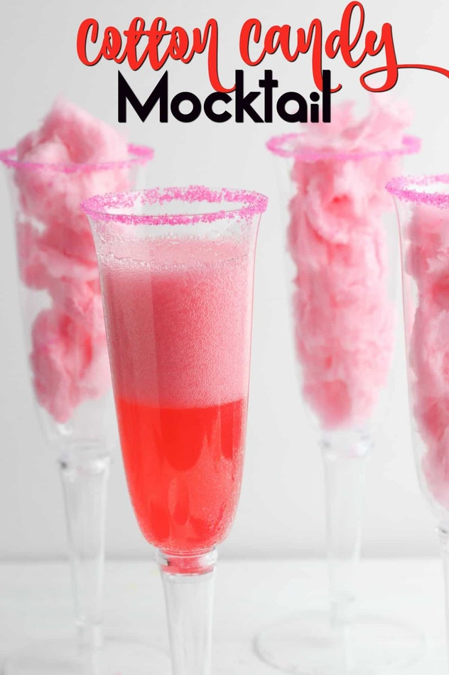 A Cotton Candy Mocktail is a Pinterest-worthy Valentine's Day recipe for a delicious and pretty drink.