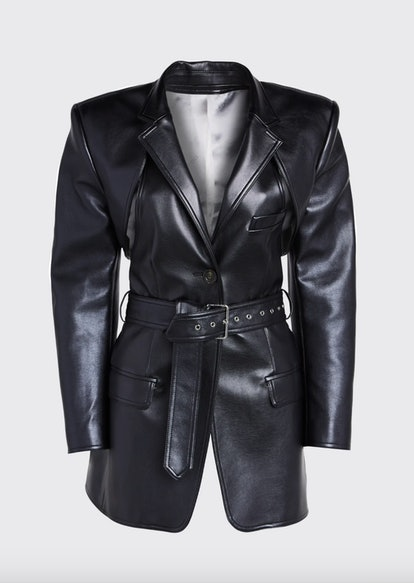 Faux-Leather Blazer with Detachable Apron