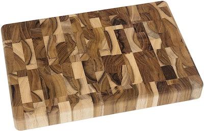 Lipper International Teak Wood End Grain Cutting Board