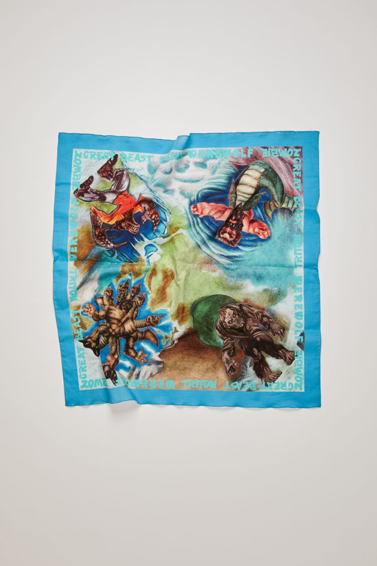 Monster-print scarf turquoise blue