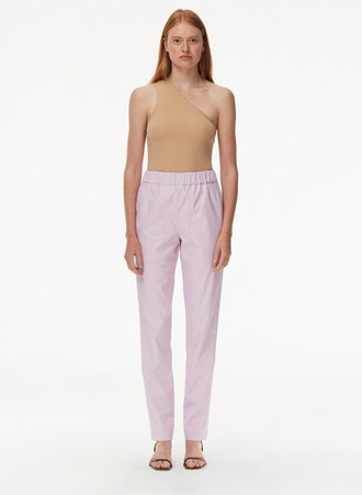 Tissue Faux Leather Pull On Pants