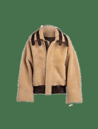 The Saturn Reversible Shearling Jacket In Cognac